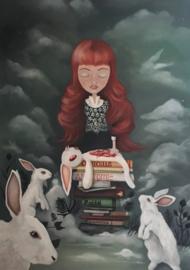 Painting 'Claudette et lapin'