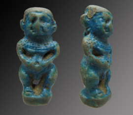 Egyptian faience amulet of Pataikos with necklace