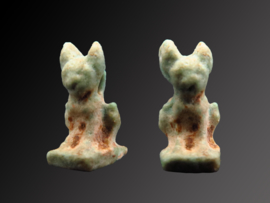 Ancient Egyptian faiance Cat amulet