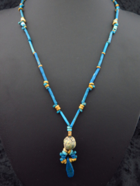 Egyptian necklace made of clear blue faience mummy beads and a decorated glass bead and Amarna leaf