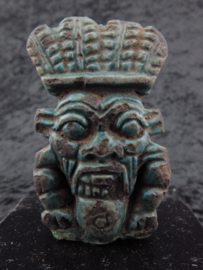 Big Egyptian double faced faience Bes amulet