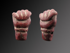 Roman Jasper fist with thumb between index and middle finger amulet