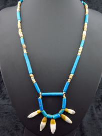 Egyptian necklace made of clear blue faience mummy beads and five Amarna Lotusflower leaf amulets