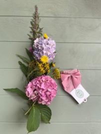 Opengewerkte enkelkousen met strik - Oud roze