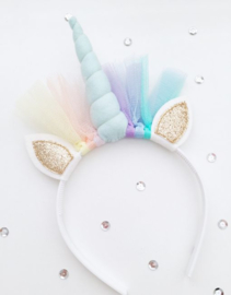 Unicorn diadeem pastelblauw-goud