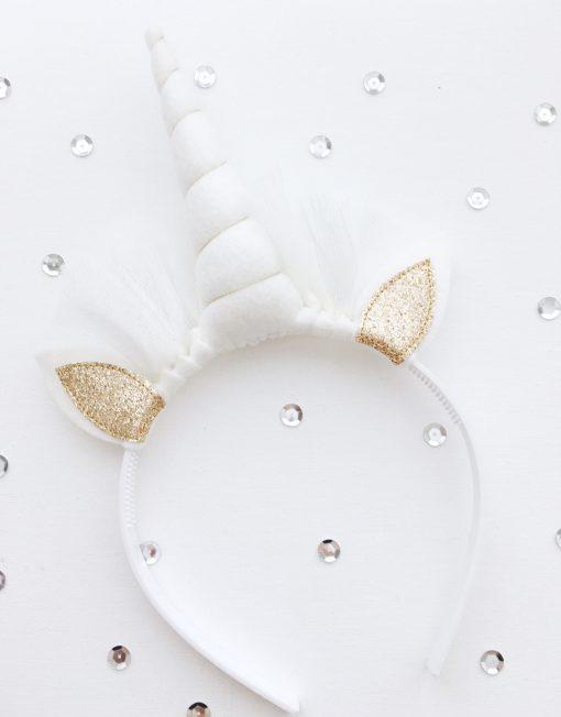 Unicorn diadeem wit - goud