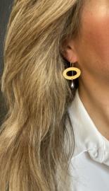24 k vergulde oorbellen met parelmoer druppel