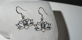 Aquamarijn Lotus oorbellen