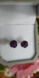 Amethist  roosjes oorstekers