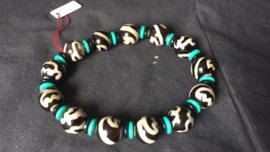Tibetaanse Dzi kraal Lotusbloem armband
