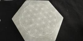 Seleniet  schijf Hexagonaal    gegraveerd Flower of Life