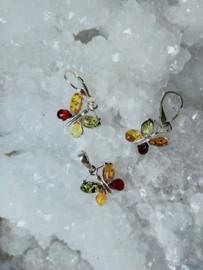 Barnsteen zilveren hanger en oorbellen set vlinder