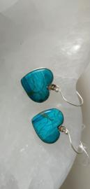 Blauwe Andesopaal  Oorbellen zilver
