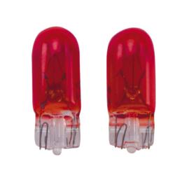 T-10 12V/5W Lampen 12V Rood (Coated), set à 2 stuks