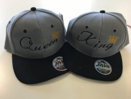 King & Queen Cap grijs/zwart (Kroon)