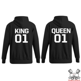 Hoodie King & Queen + rugnummer