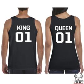 Tanktop King & Queen + rugnummer