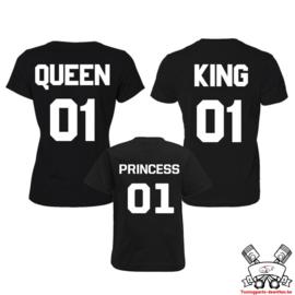 T-shirt King, Queen & Princess + rugnummer