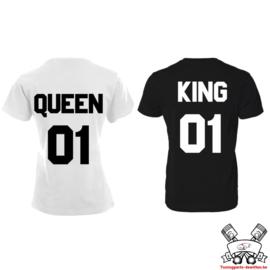 T-shirt King & Queen + rugnummer (Black&White)