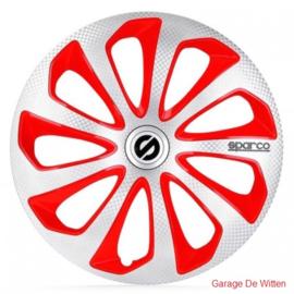 Sparco Sicilia Wieldoppen Zilver/Rood/Carbon