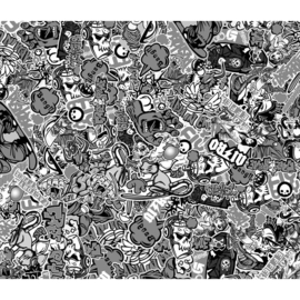 Stickerbomb Folie - Graffiti design 1 - zwart/wit - Rol 60x200cm - zelfklevend
