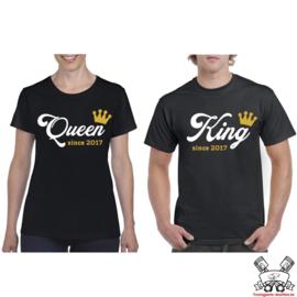 T-shirt King & Queen since + Kroon