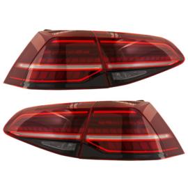 Set LED Achterlichten passend voor Volkswagen Golf VII 2012-2017 & Facelift (7.5) 2017- excl. Variant - Rood/Smoke - incl. Dynamic Running Light
