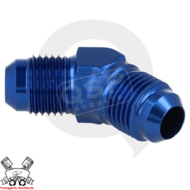 Aluminium adapter 45° male / male D03 Blauw