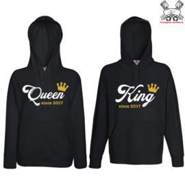 Hoodie King & Queen since + Kroon