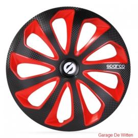Sparco Sicilia Wieldoppen Zwart/Rood/Carbon