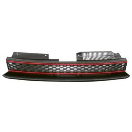 Embleemloze Grill passend voor Volkswagen Golf VI GTi 2008-2012 - Zwart/Rood