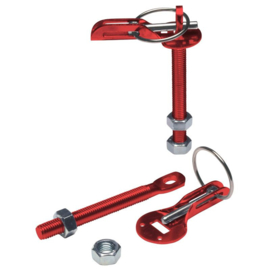Set universele motorkaphaken/-pins - rood aluminium