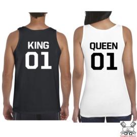 Tanktop King & Queen + rugnummer (Black&White)