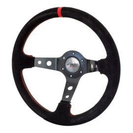 Simoni Racing Sportstuur Pit Lane 350mm - Zwart Alcantara + Rode stiksels (Deep Dish - 95mm)