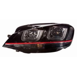 Set Koplampen incl. DRL 'Dual-U' passend voor Volkswagen Golf VII 2012-2017 - Zwart/Rood - incl. Motor