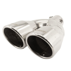 Simoni Racing Uitlaatsierstuk Dubbel Rond RVS - Ø90xL242mm - Montage ->62mm