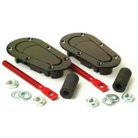 Set universele Racing Plus Flush motorkaphaken/-pins - zwart + rood aluminium pins