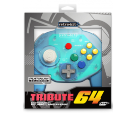 Retro-Bit N64 Tribute Classic Controller - Ocean Blue NEW