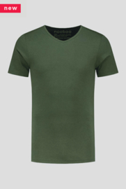 luxe bamboe t-shirt army green met v-hals
