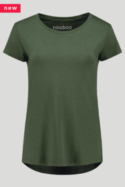 luxe dames bamboe t-shirt army green