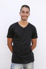 luxe bamboe t-shirt zwart met v-hals