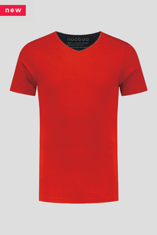 luxe bamboe t-shirt rood met v-hals