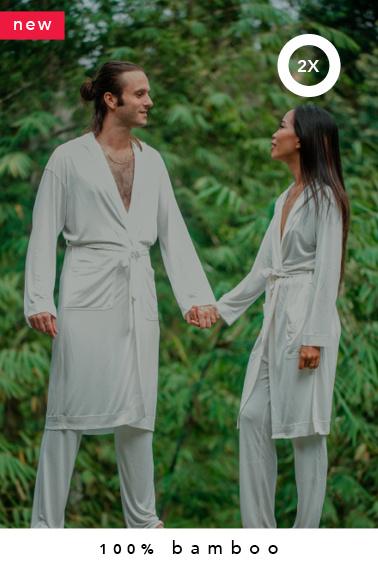 2x 100% bamboo kimono + 2x lounge pants combo (made-to-order in Bali + natural dye)