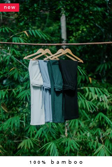100% bamboo lounge pants (made-to-order in Bali + natural dye)