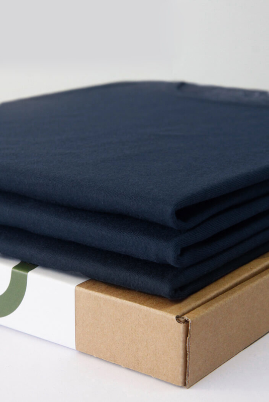 Crew Neck 3-Pack Bamboo T-Shirts Navy