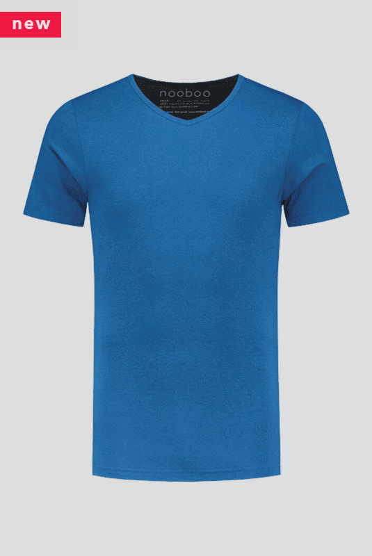 luxe bamboe t-shirt blauw met v-hals