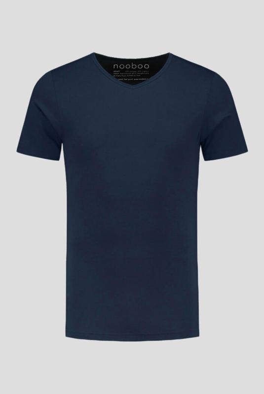 luxe bamboe t-shirt navy met v-hals