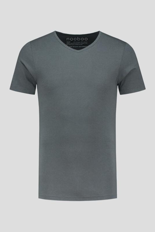 luxe bamboe t-shirt donkergrijs met v-hals