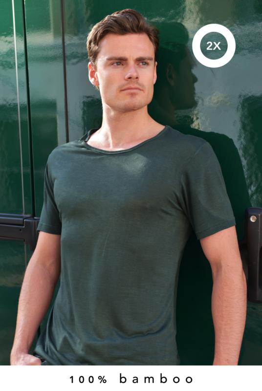 2x 100% bamboe t-shirt groen