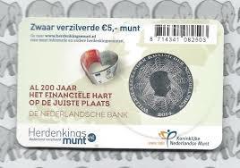 zwaar verzilverde € 5,00 munt